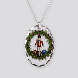 Red Nutcracker Wreath Necklace Oval Charm